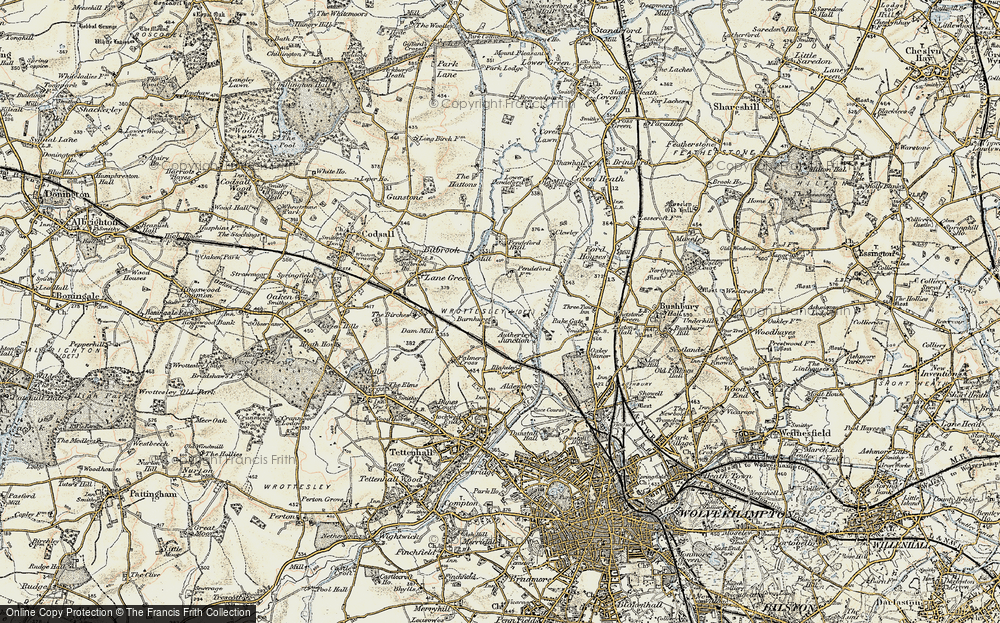 Old Map of Historic Map covering Autherley Junction in 1902
