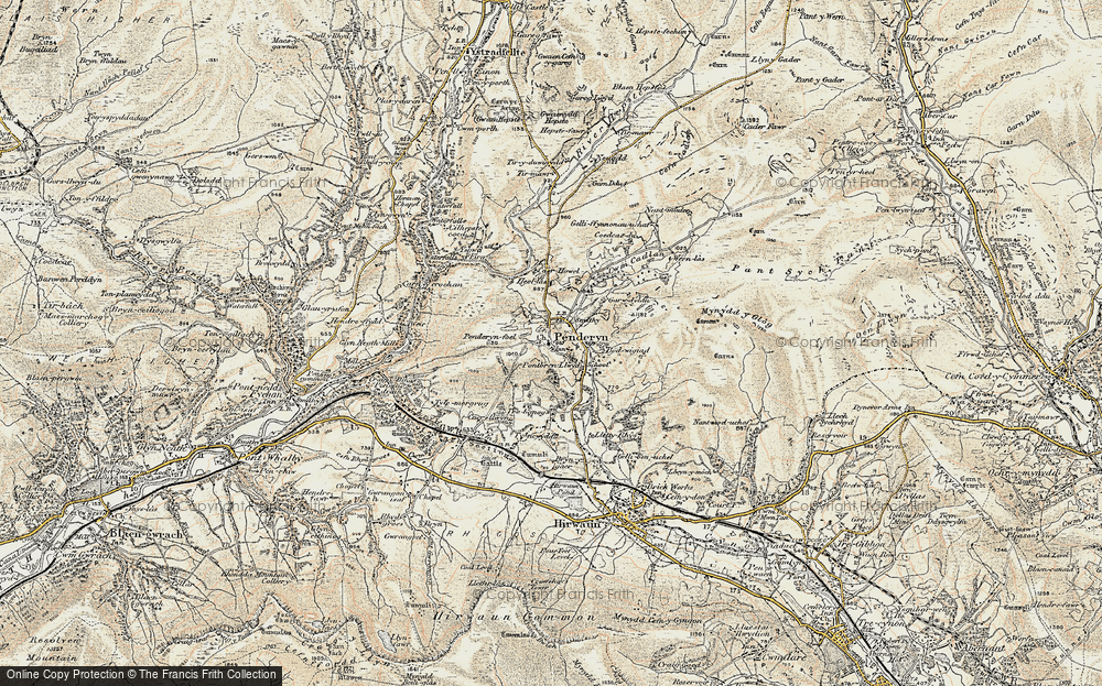 Old Map of Historic Map covering Afon Mellte in 1900