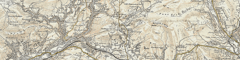 Old map of Afon Hepste in 1900