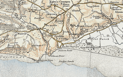 Old map of Pendine in 1901