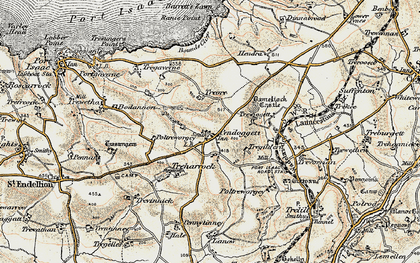 Old map of Pendoggett in 1900