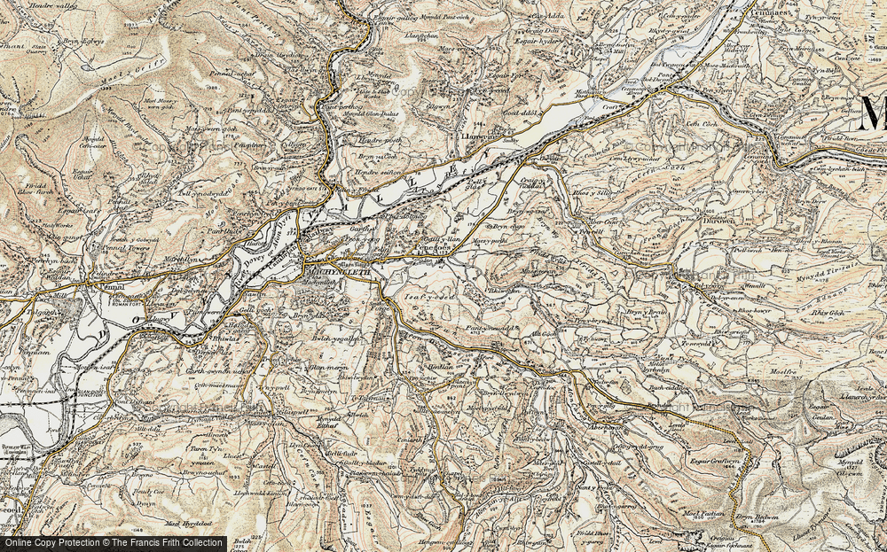 Old Map of Historic Map covering Afon Crewi in 1902-1903