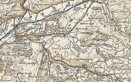 Old map of Afon Crewi in 1902-1903