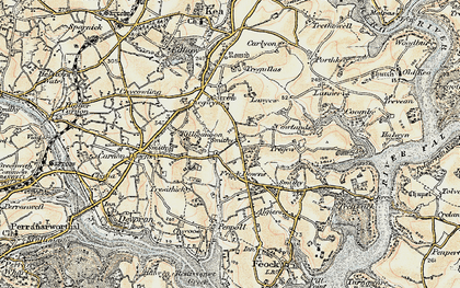 Old map of Penelewey in 1900