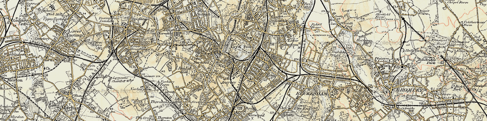 Old map of Penge in 1897-1902