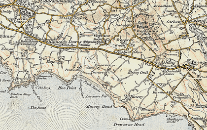 Old map of Pengersick in 1900