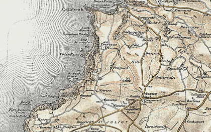 Old map of Pengold in 1900