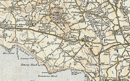 Old map of Penhale Jakes in 1900