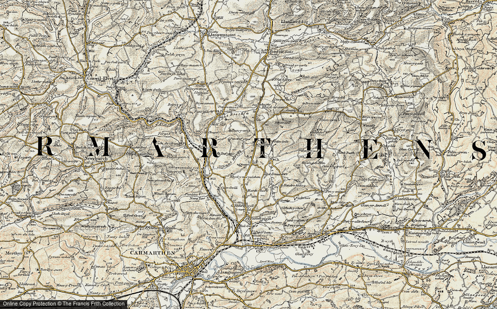Old Map of Historic Map covering Awelfryn in 1901