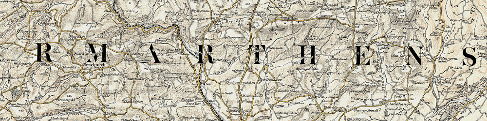 Old map of Afon Gwili in 1901