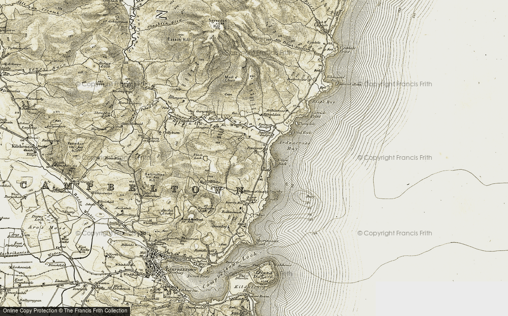 Old Map of Historic Map covering Ballymenach in 1905-1906