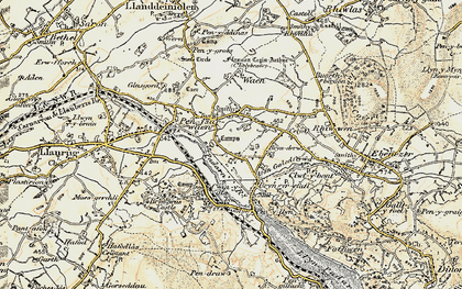 Old map of Afon Rhythallt in 1903-1910