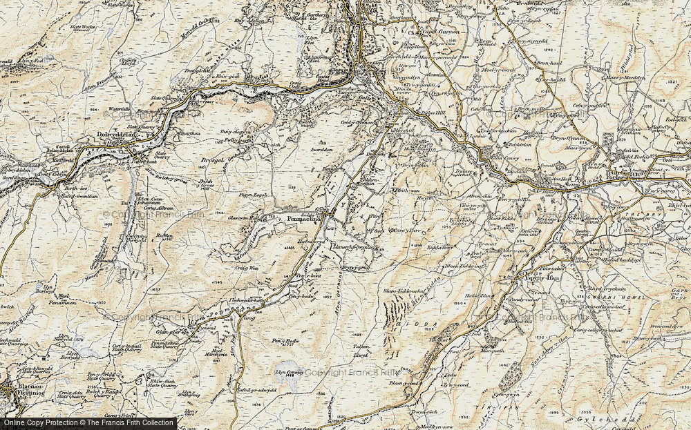 Old Map of Historic Map covering Afon Oernant in 1902-1903