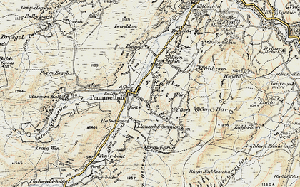 Old map of Afon Oernant in 1902-1903
