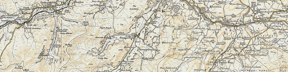 Old map of Afon Machno in 1902-1903