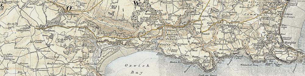 Old map of Penmaen in 1900-1901