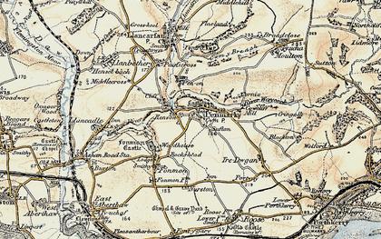 Old map of Penmark in 1899-1900