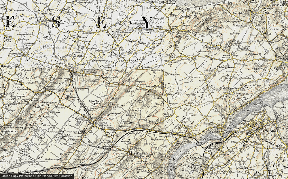 Old Map of Historic Map covering Afon Ceint in 1903-1910