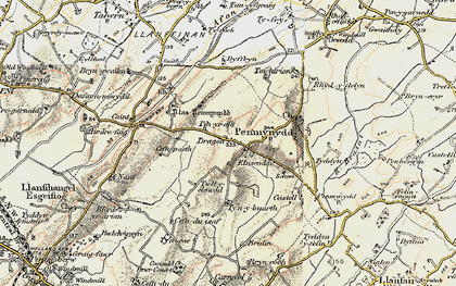 Old map of Afon Ceint in 1903-1910