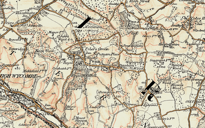 Old map of Penn in 1897-1898