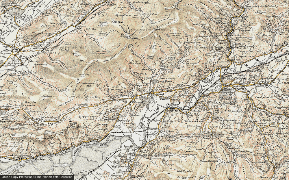 Old Map of Historic Map covering Afon Alice in 1902-1903