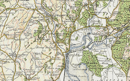 Old map of Penny Bridge in 1903-1904