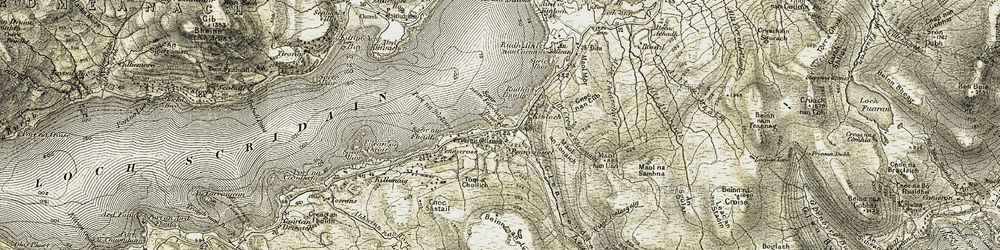 Old map of Allt Creag a' Chromain in 1906-1907