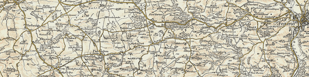Old map of Wringsland in 1899-1900