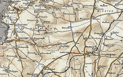 Old map of Penpethy in 1900