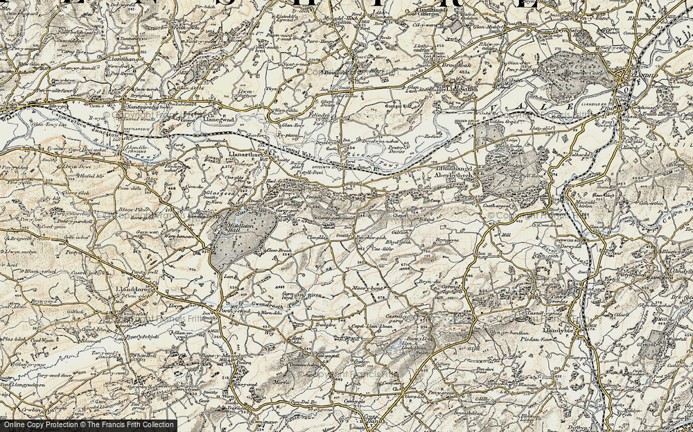 Old Map of Historic Map covering Afon Gwynon in 1900-1901