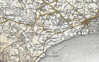 Old map of Afon Penrhos in 1903