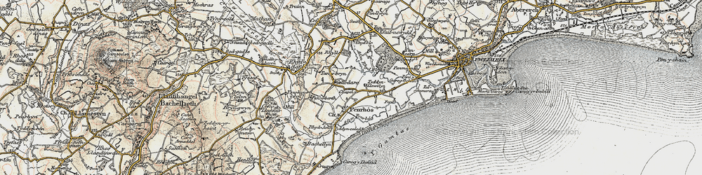 Old map of Afon Penrhos in 1903