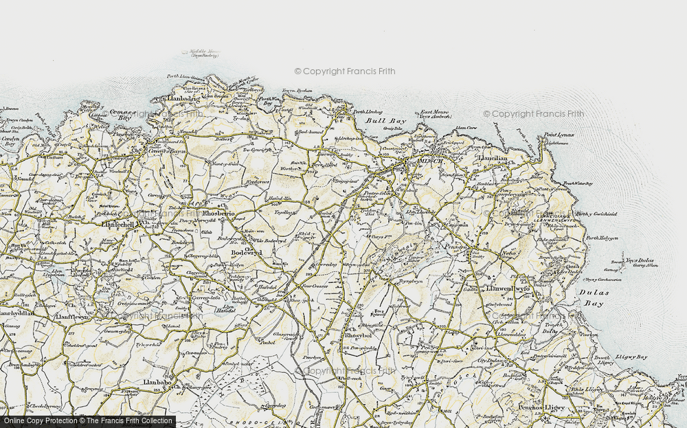 Old Map of Historic Map covering Ysgellog in 1903-1910