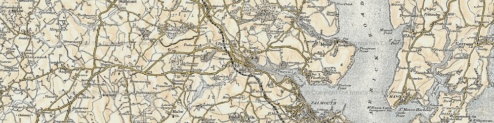 Old map of Penryn in 1900