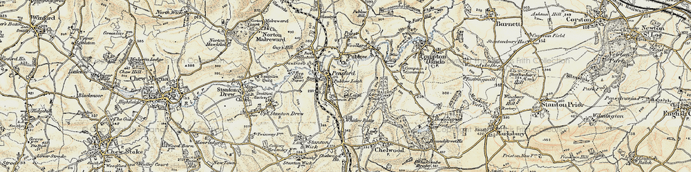 Old map of Whitley Batts in 1899