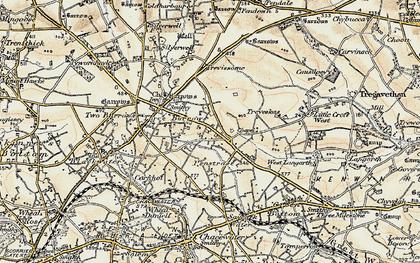 Old map of Penstraze in 1900