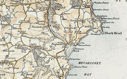 Old map of Pentewan in 1900