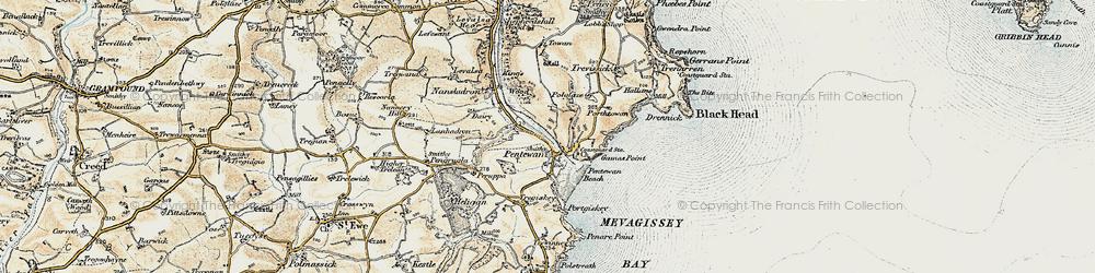Old map of Pentewan in 1900
