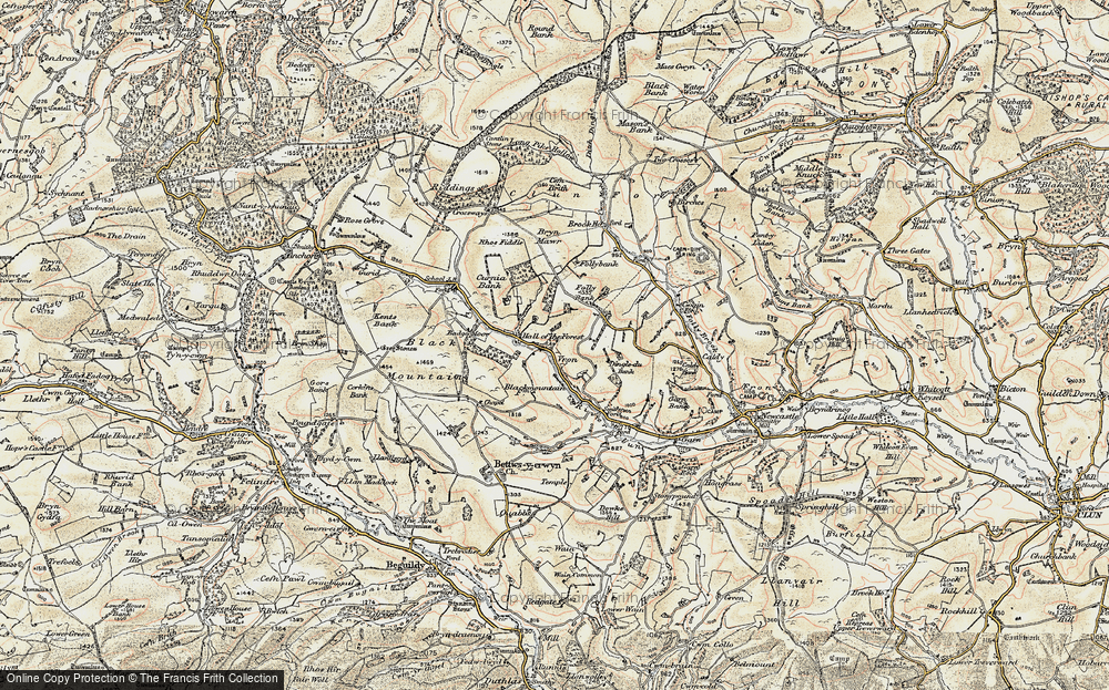 Old Map of Historic Map covering Badger Moor in 1901-1903