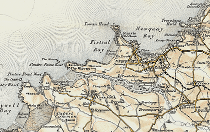 Old map of Pentire in 1900