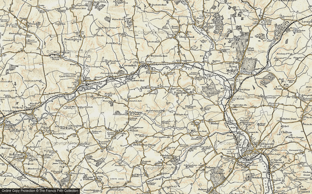Old Map of Historic Map covering Larks in the Wood in 1898-1901