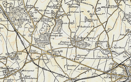 Old map of Weyhill Service Area in 1897-1900