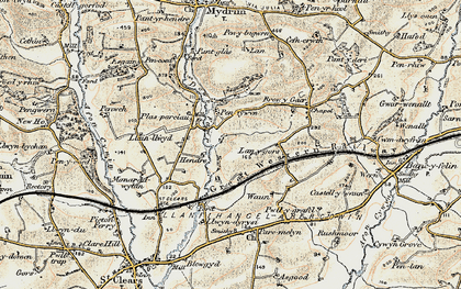 Old map of Lanygors in 1901