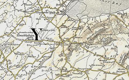 Old map of Afon Nodwydd in 1903-1910