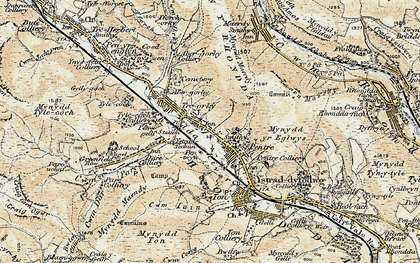 Old map of Pentre in 1899-1900