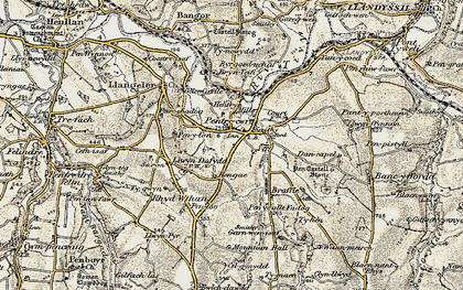 Old map of Pentre-cwrt in 1901