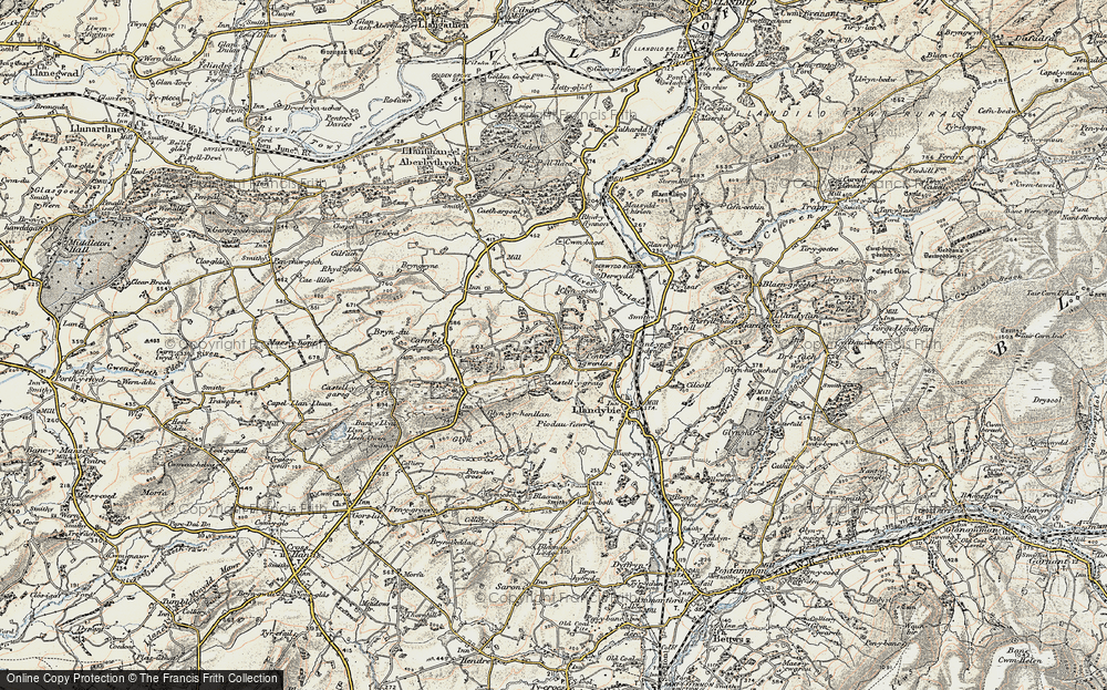 Old Map of Historic Map covering Afon Marlas in 1900-1901