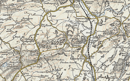 Old map of Afon Marlas in 1900-1901