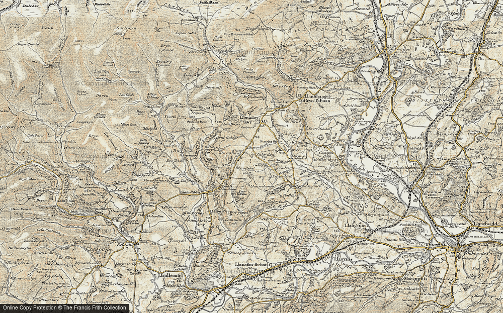 Old Map of Historic Map covering Afallenchwerw in 1900-1903