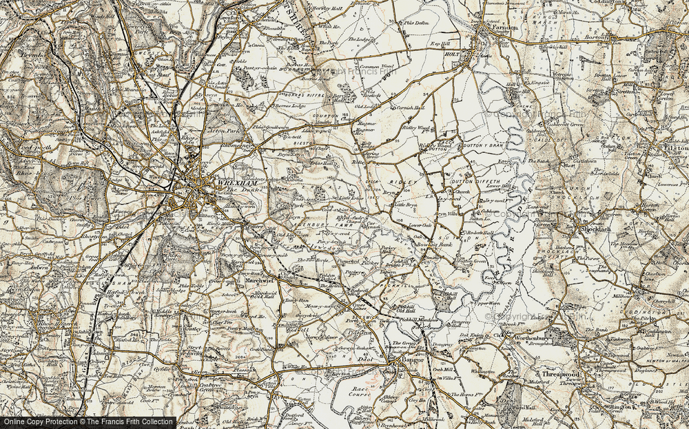 Old Map of Historic Map covering Wrexham Industrial Estate in 1902